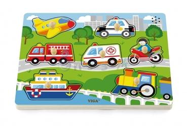Viga Kolorowe puzzle z dźwiękiem Pojazdy