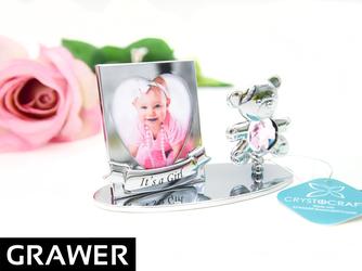 Ramka zdjęcie Miś Róż Swarovski GRAWER chrzest roczek