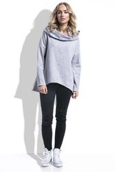 Szara Bluza Asymetryczna Melanżowa z Kapturem