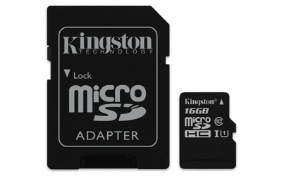 Kingston microSD  16GB Class10 Canvas Select 8010MBs adapter