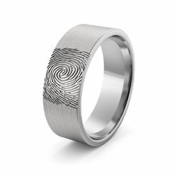 Obrączka srebrna z odciskiem palca - wzór Ag-386