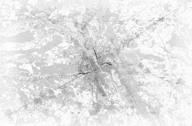 Warszawa - mapa czarno-biała - fototapeta