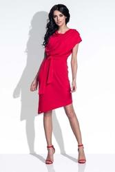 Czerwona Sukienka Elegancka Asymetryczna z Rozcięciem na Plecach
