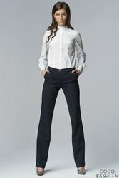 Granatowe Klasyczne Eleganckie Spodnie z Prostymi Nogawkami