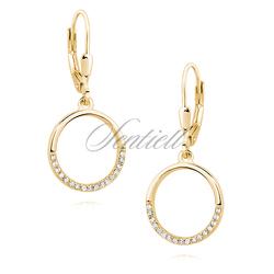 Srebrne złocone pr925 kolczyki okrąg z cyrkoniami