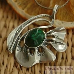 GRONIA - srebrny wisior z malachitem