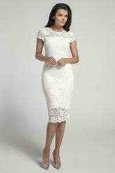 Koronkowa Ecru Ołówkowa Sukienka Midi z Dekoltem V na Plecach