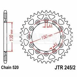 Zębatka tylna stalowa JT 2452-49, 49Z, rozmiar 520 2301926 Honda XR 250