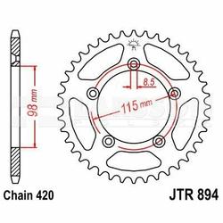 Zębatka tylna stalowa JT 894-46, 46Z, rozmiar 420 2300957 KTM SX 65