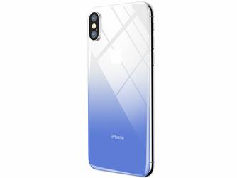 Baseus gradient szkło hartowane 9H na tył iPhone X Xs niebieskie - Niebieski