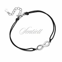 Srebrna pr.925 bransoletka z czarnym sznurkiem - nieskończoność