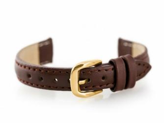 Pasek skórzany do zegarka W30 - w pudełku - brązowyzłoty - 14mm
