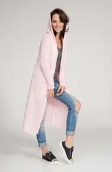 Różowy Długi Sweter Maxi z Kapturem