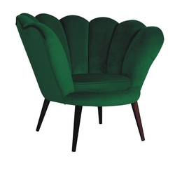 Fotel muszelka do salonu Muse II zielony welur