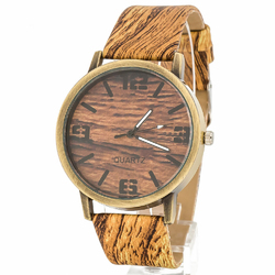 Zegarek drzewny jasny brązowy - jasny brązowy