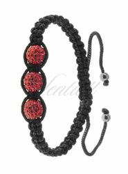 Bransoletka sznurkowa srebrna pr.925 - czerwona 3 kulki
