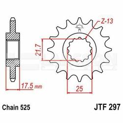 Zębatka przednia JT F297-14, 14Z, rozmiar 525 2201530 Honda CB 500