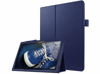 Etui Stand Cover Lenovo Tab2 A10-30 10 TB-X103 Granatowe + Szkło - Granatowy