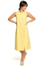 Żółta Mini Sukienka z Guzikami