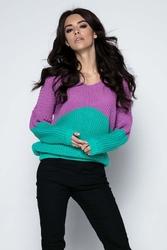 Zielony Sweter Dwubarwny Krótki z Dekoltem w Szpic