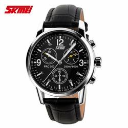 Zegarek męski SKMEI 9070 pasek skórzany czarny - black leather