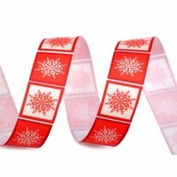 Zimowa wstążka rypsowa 20 mm1m ŚNIEŻYNKI - czerwony - czerwony