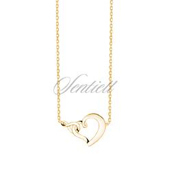 Srebrny naszyjnik pr.925 serce i znak nieskończoności - pozłacany