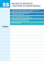 tablica suchościeralna lean zasady 5S z notatnikiem 065