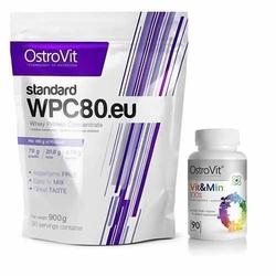 OSTROVIT WPC 80.eu Standard - 900g + 100 Vit Min  Vitamin n Minerals  - 90tabs.