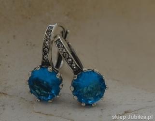 LIZBONA - srebrne kolczyki z akwamarynem i kryszta