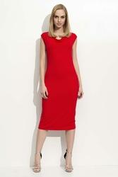 Czerwona Sukienka Dopasowana z Lejącym Dekoltem