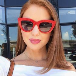 Okulary damskie przeciwsłoneczne kocie oko czerwone - CZERWONE