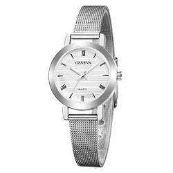 Zegarek damski GENEVA mała tarcza srebrny MESH - silver white