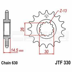 Zębatka przednia JT F330-15, 15Z, rozmiar 630 2200150 Honda CB 750