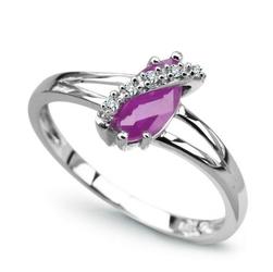 pierścionek białe złoto ametyst diamenty