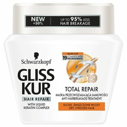 Gliss Kur, Total Repair, maska do włosów w słoiku, 300 ml