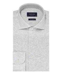 Elegancka siwa koszula męska z dzianiny SLIM FIT 45
