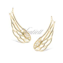 Srebrne kolczyki pr. 925 nausznice skrzydła z cyrkoniami pozłacane
