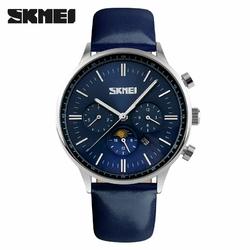 Zegarek męski SKMEI 9117 elegancki skóra blue - blueblue