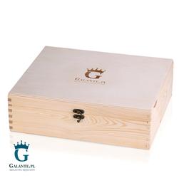 Skrzynka drewniana Kuferek naturalny z logo Galante