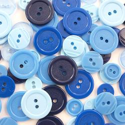 Kolorowe guziki 3 wielkości200szt. - niebieski - NIE