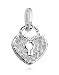 Srebrna zawieszka pr.925 serce-kłódka z cyrkoniami