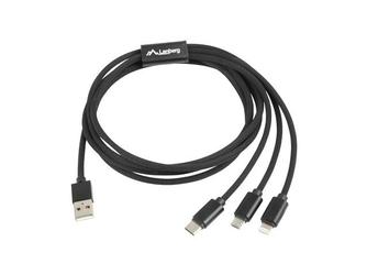 LANBERG Kabel Premium Combo USB AM - Micro USB BM + Lightning M + USB CM 2.0 1,8m czarny