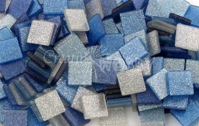 Mozaika glitter niebieska 10x10 mm - 190 sztuk - NIEBRO