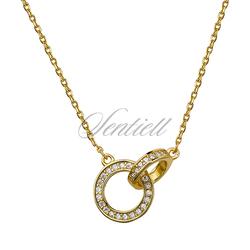 Srebrny naszyjnik pr.925  kółeczka z cyrkonią, złocony