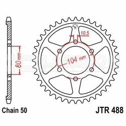 Zębatka tylna stalowa JT 488-38, 38Z, rozmiar 530 2300192 Kawasaki ZRX 1200