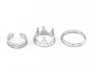 Pierścionki zestaw crown silver - SILVER