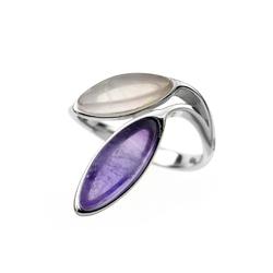 pierścionek rozmiar: 16 rodowane srebro 925 i ametyst