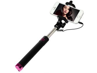 Uniwersalny uchwyt Selfie Stick do aparatów i smartfonów Monopod - Różowy