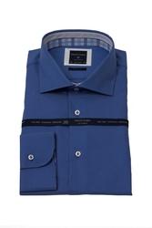 Niebieska modna koszula męska taliowana SLIM FIT z kontrastami w kratę 38